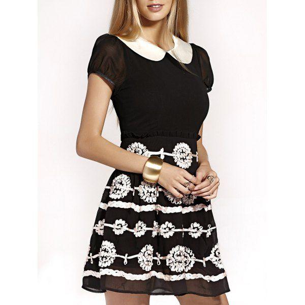 Cute Peter Pan Collar Puff Sleeve Mini Dress For Women #shoes, #jewelry, #women, #men, #hats
