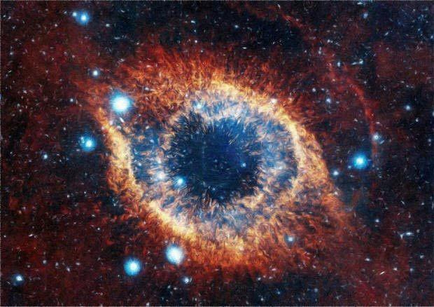 Звездное скопление в форме человеческого глаза с темным зрачком бездонного космоса внутри. Миллиарды звезд.