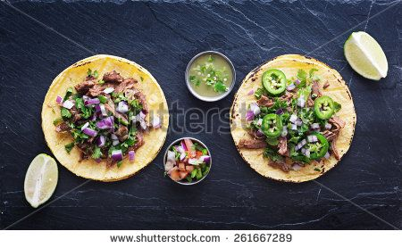 top down photo of two authentic mexican tacos - stock photo