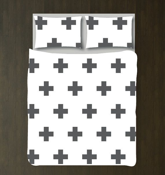Swiss Cross Bedding Set-Custom Duvet Cover-Shams-Charcoal Grey-White-Customize Colors-Twin XL-Full/Queen-King-Scandinavian-Plus Signs-Size