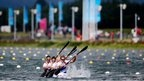 Louisa Sawers, Angela Hannah, Rachel Cawthorn and Jess Walker of Great Britain compete in the women's kayak four 500m Sprint semi-final