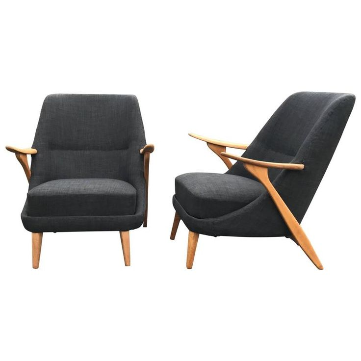 Pair of Scandinavian Modern Lounge Chairs by Svante Skogh for Seffle Möbelfabrik | From a unique collection of antique and modern lounge chairs at https://www.1stdibs.com/furniture/seating/lounge-chairs/