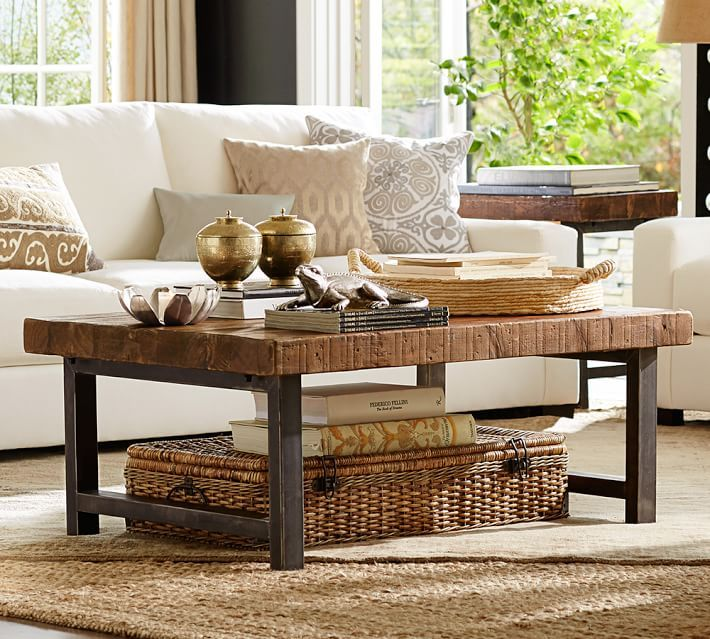traditional living room with pottery barn turner square arm upholstered sofa griffin reclaimed wood coffee table carpet
