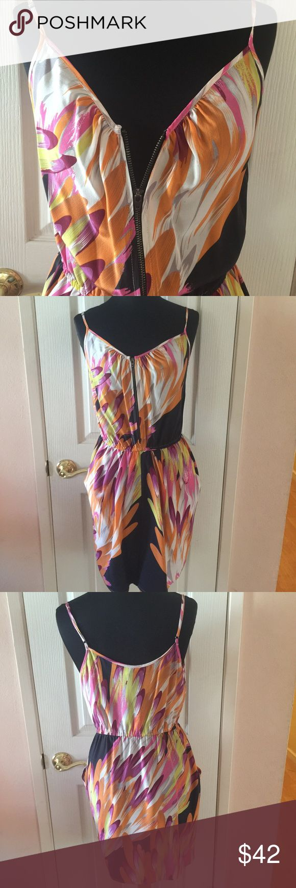 Charlie Jade Gorgeous Silk Sundress,Size S Charlie Jade Silk Dress Multi Color Pattern with Pockets,Straps are Adjustable Charlie Jade Dresses Mini