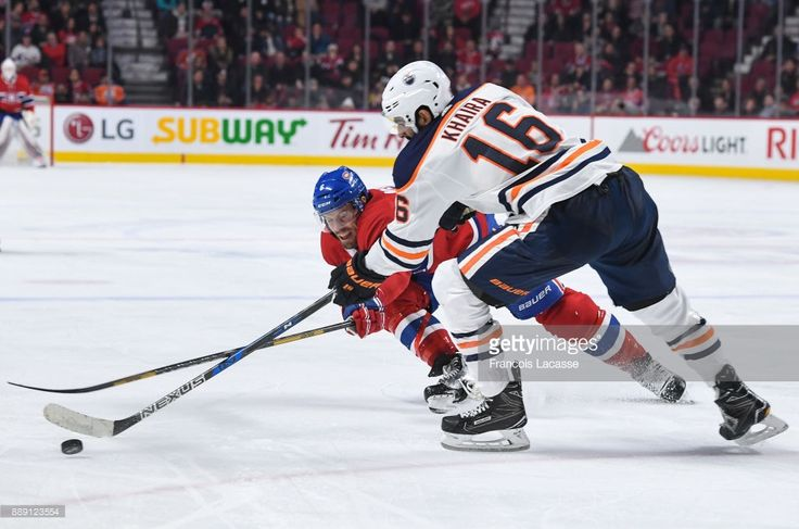 Shea Weber #6 of the Montreal Canadiens tries to block the pass from Jujhar Khaira #16 of the Edmonton Oilers in the NHL game at the Bell Centre on December 9, 2017 in Montreal, Quebec, Canada.