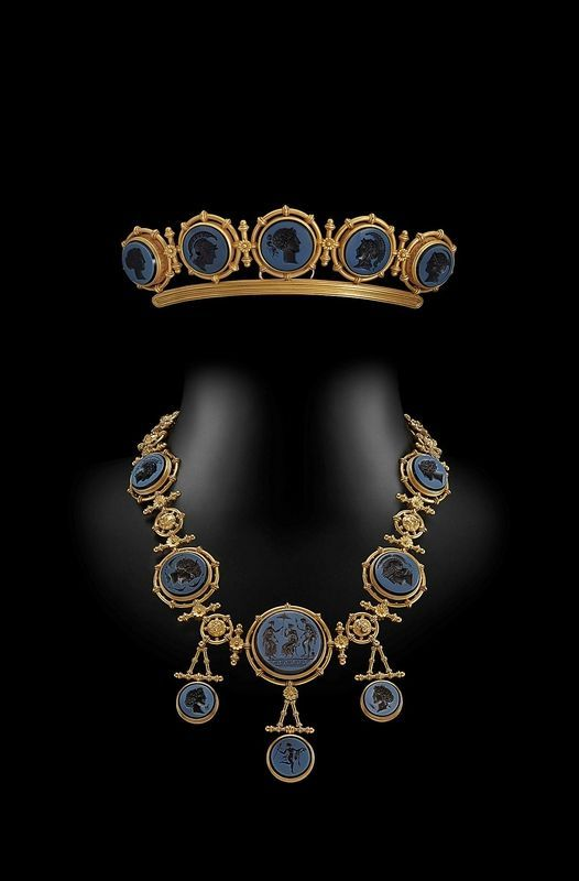 Sold by Hancock's a revival intaglio tiara and necklace by Ernesto Pierret of Paris