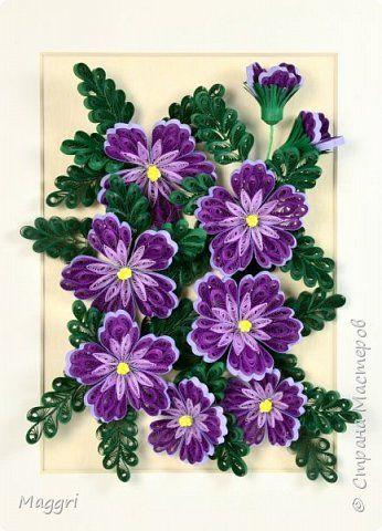 Картина панно рисунок Квиллинг Загадочные цветы Бумажные полосы фото 1