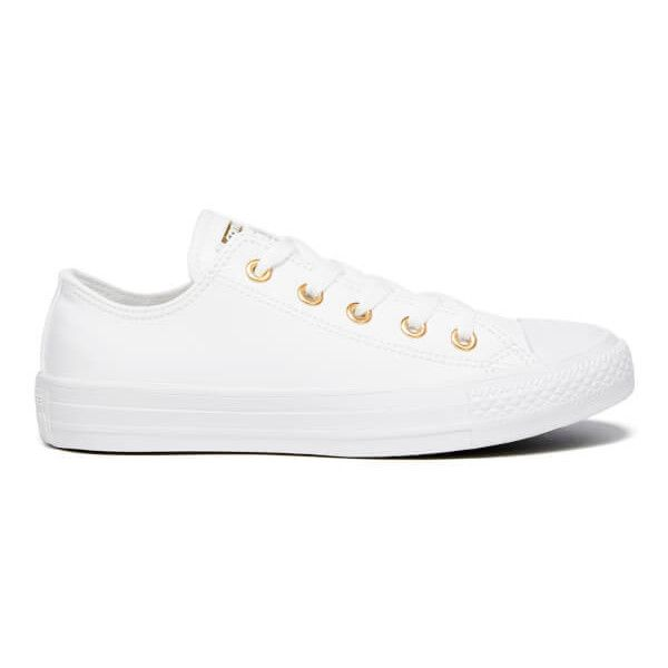 Converse Women's Chuck Taylor All Star Ox Trainers - White/Gold ($69) ❤ liked on Polyvore featuring shoes, sneakers, white, gold sneakers, converse shoes, white lace up sneakers, white gold sneakers and lace up sneakers