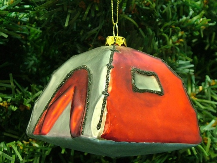 New bronner 39 s glass red tent camping outdoor christmas for Outdoor christmas tree ornaments