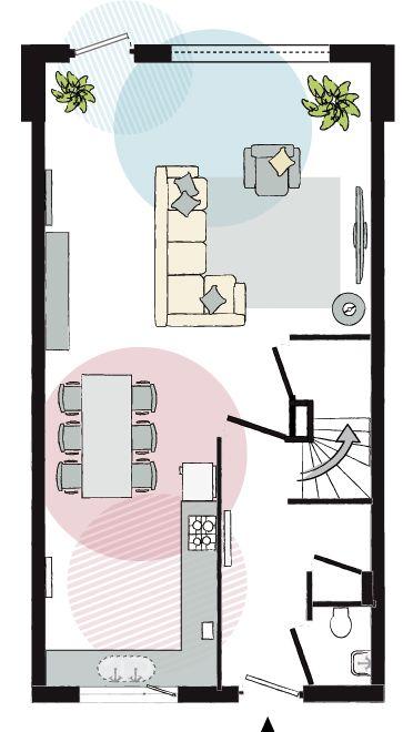 Eenvoudige plattegrond – hierin illustreren de cirkels schematisch bepaalde 'leefgebieden' in de woonkamer.  INCOMBINATIE door Laura