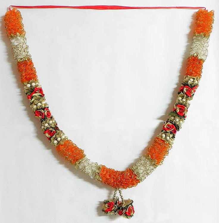 Saffron with White Ribbon Flower Garland (Synthetic Ribbon))