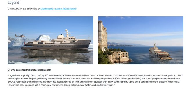 78M EXPEDITION SUPERYACHT LEGEND featured on Air Charter Services