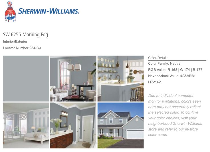 Sherwin Williams SW6255 Morning Fog