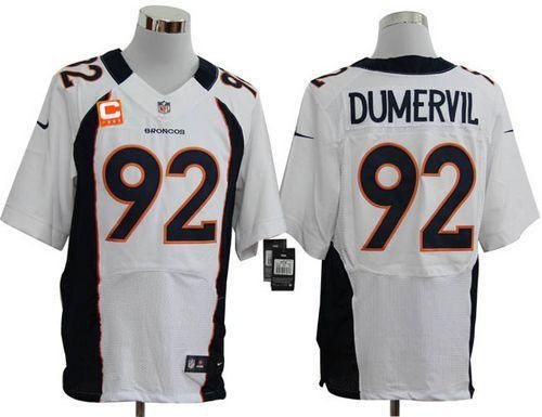 official photos cf365 0d99c ... Nike Broncos 92 Elvis Dumervil White With C Patch Mens Embroidered NFL Elite  Jersey! ...