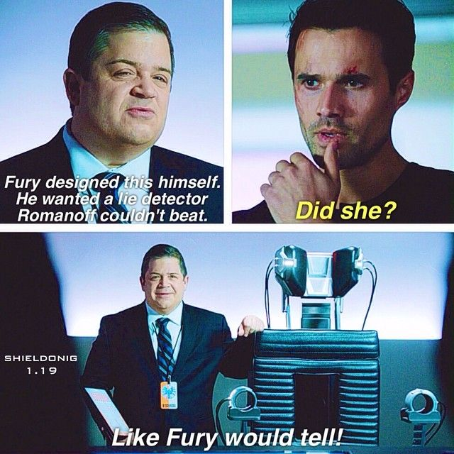 Fury designed this himself. He wanted a lie detector Romanoff couldn't beat. / Did she? / Like Fury would tell! || Eric Koenig and Grant Ward || AOS 1x19 The Only Light in the Darkness || 640px × 640px || #quotes