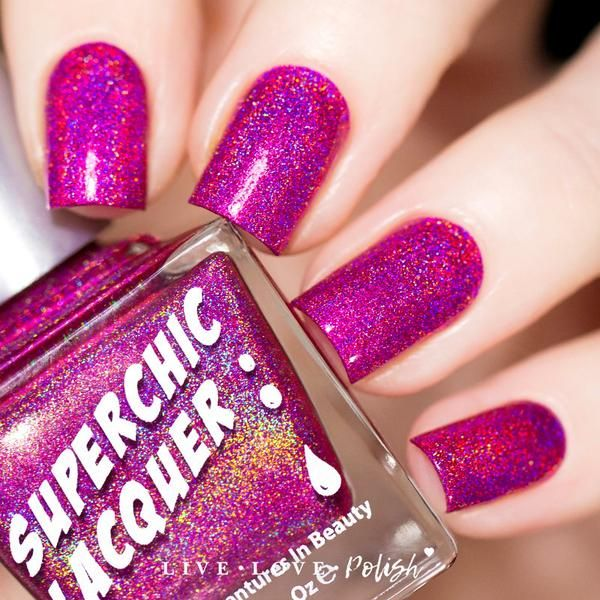 SuperChic Lacquer in 'Swoon' | Dark pink holographic nail polish