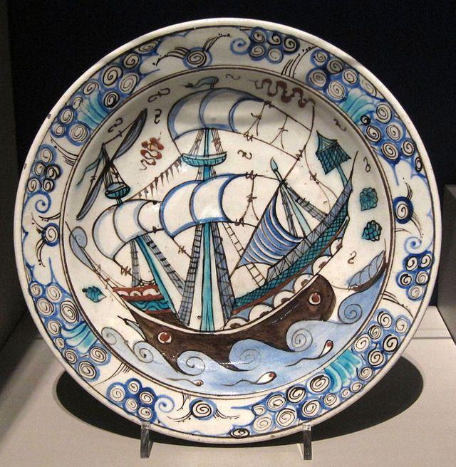 Iznik dish. ship c.1625-1650