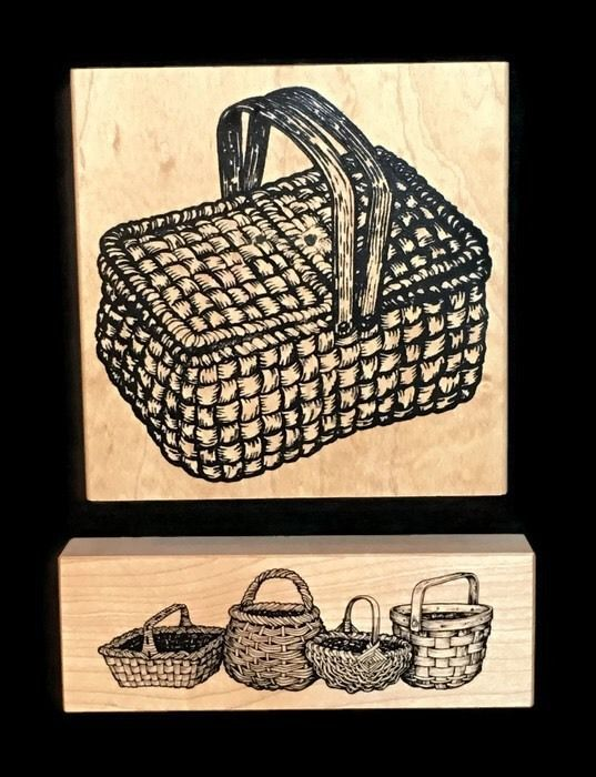 RUBBER STAMPS Museum of Modern Picnic Baskets Large & Small Wood Crafts #MuseumofModernRubber