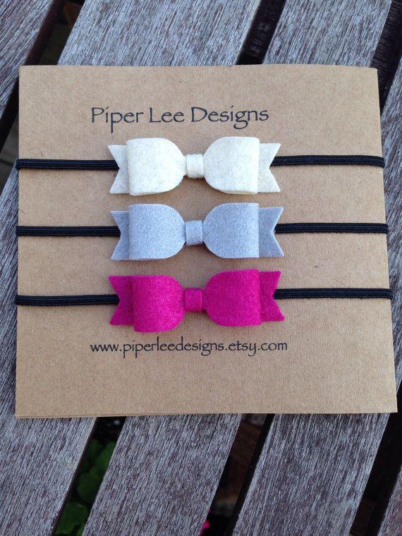 Baby headband set accessories headband felt bow by PiperLeeDesigns