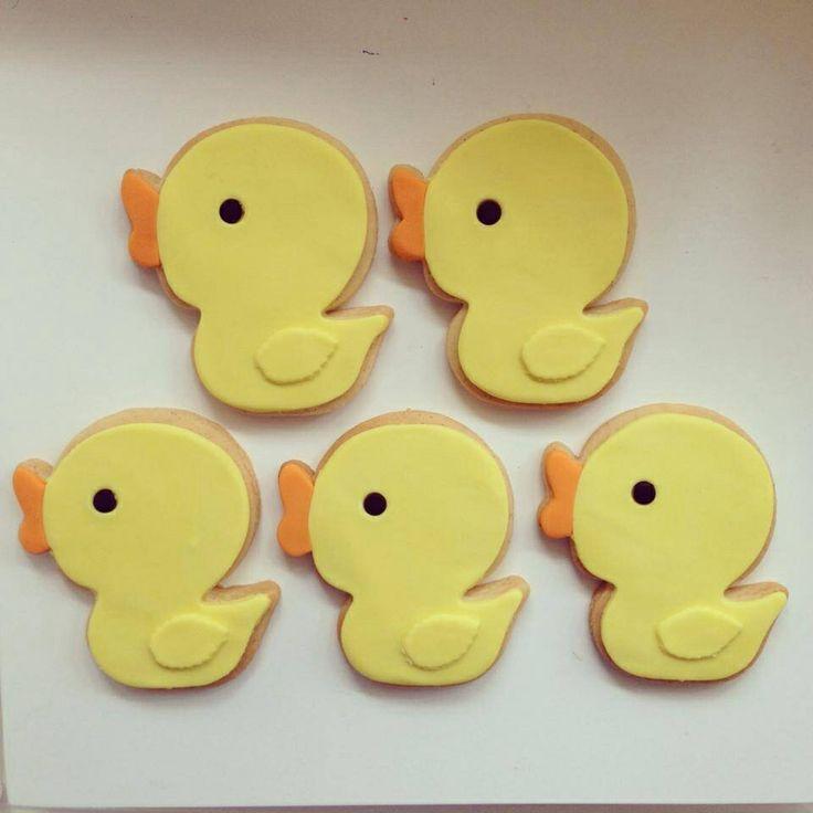 Baby shower rubber duck cookies