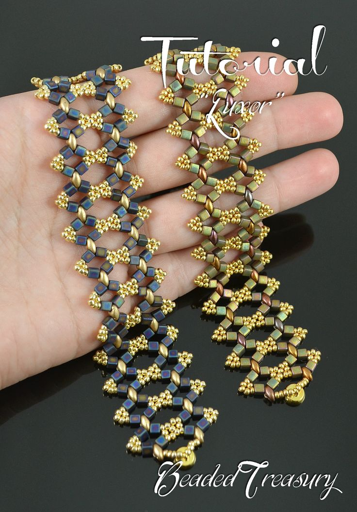 """Luxor"" beading tutorial is for a simple but sublime beaded bracelet made with predominat metalic and gold colors. Superduo bead pattern by BeadedTreasury."