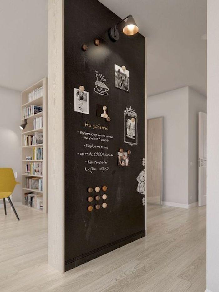 Tafellack auf Raumteiler im Flur mit Magnetfarbe viele Zeichnungen und Aufschriften
