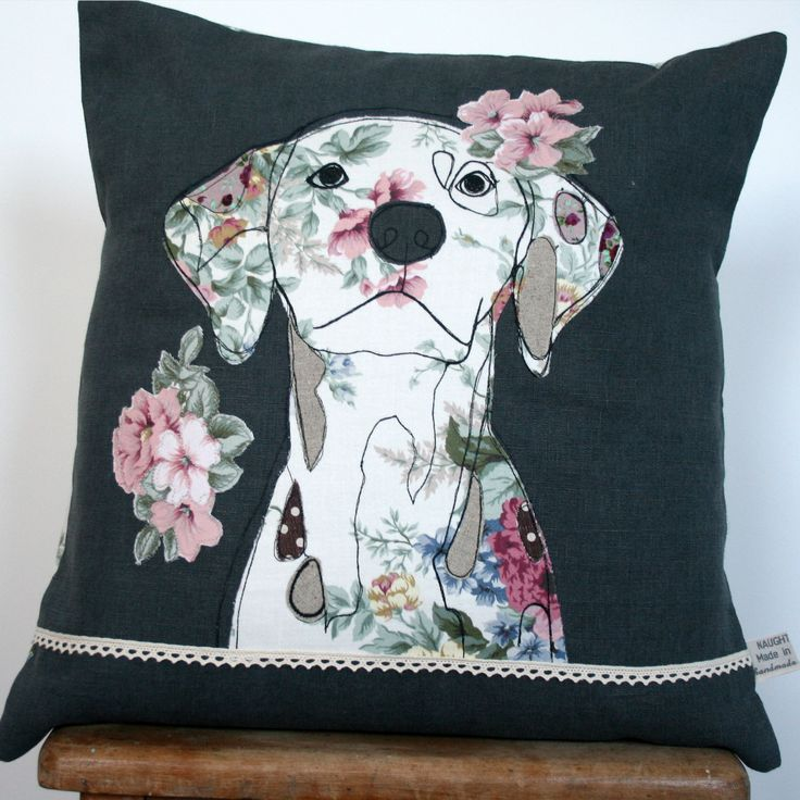 What I Always Wanted | Cushion cover, 100% linen with appliqued dalmatian dog design.