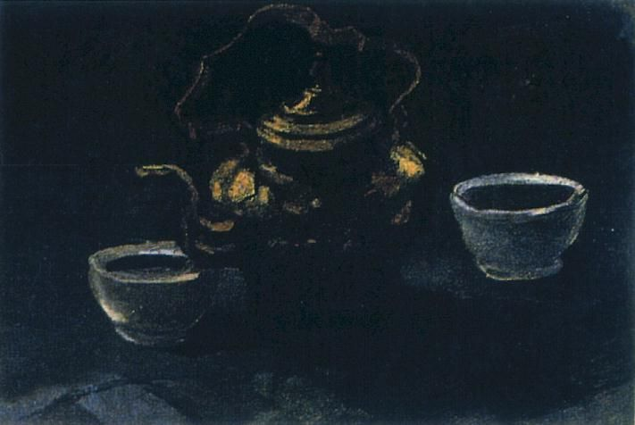 Vincent Van Gogh Póster Impresión Artística con Marco (Plástico) - Naturaleza Muerta con Zuecos Y Ollas, 1884 (80 x 60cm)
