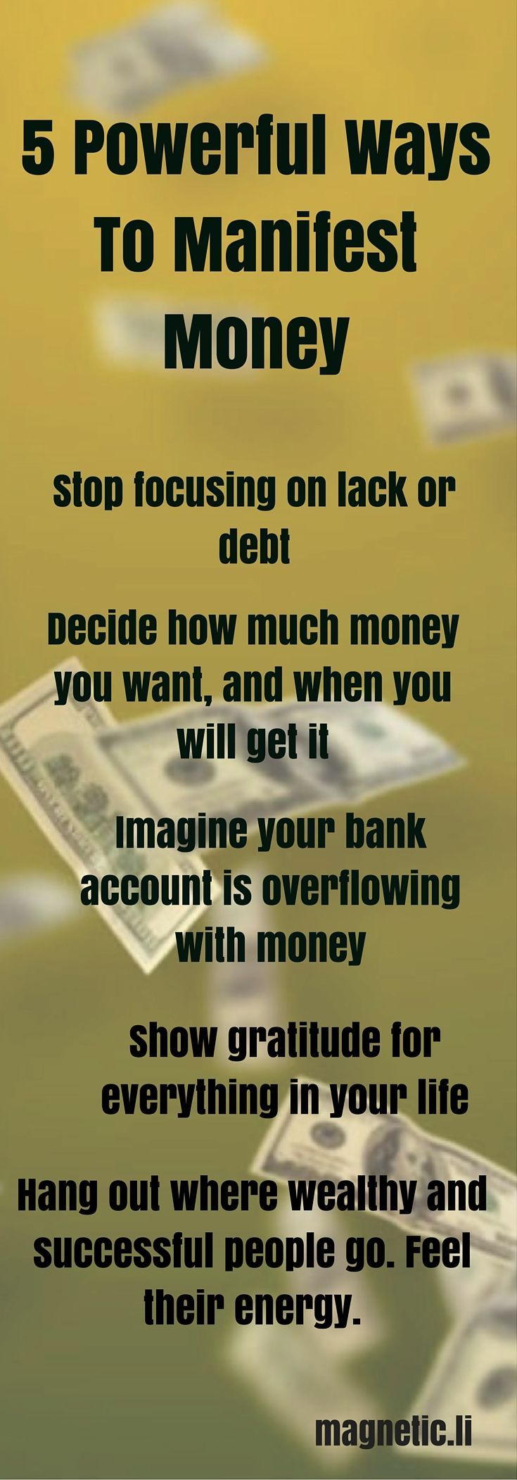 IF you want to know how to manifest money apply these simple rules. Stop focusing on debt, imagine you already have money, then let go and trust the universe will deliver. For more inspiring tips on manifesting money into your life click on the image above to read my blog post