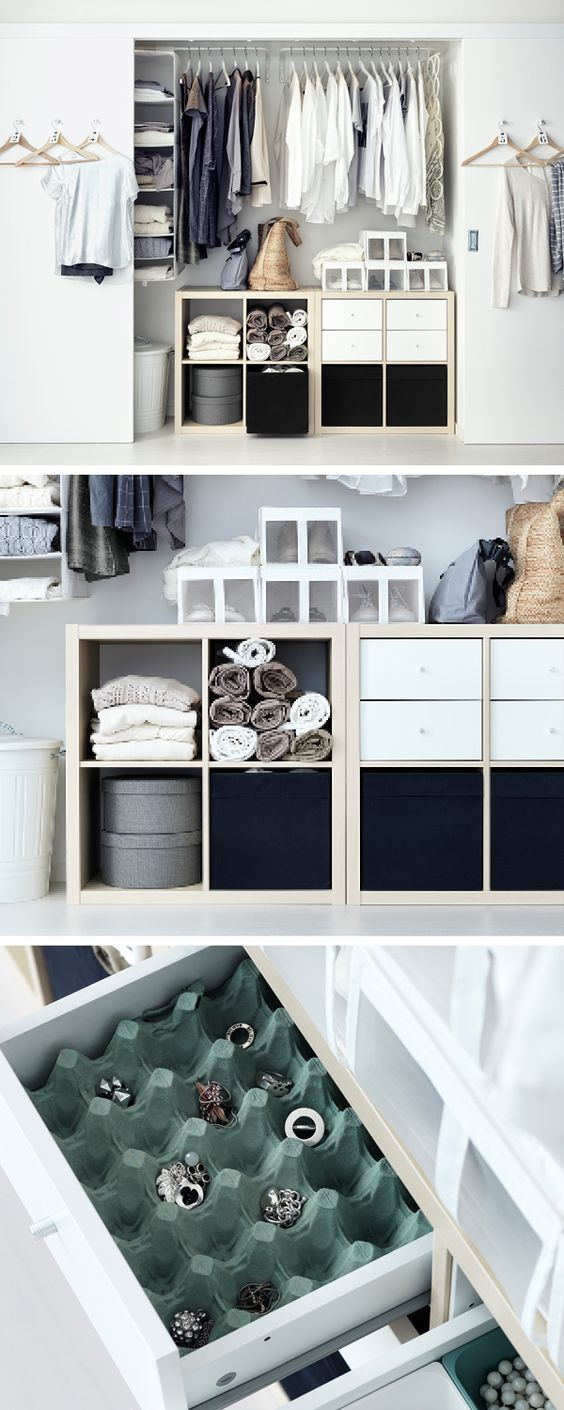 Spice up your wardrobe with a mix-and-match approach to interior fittings. Open units like KALLAX can help store rolled up towels and blankets, while something as simple as a cut up egg tray can keep jewellery and small items organised.: