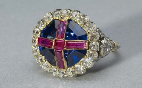 """QUEEN VICTORIA'S CORONATION RING. 1838.    """"The royal goldsmiths made the ring for the wrong finger of the Queen, thinking it should go on the little finger. Unfortunately the Archbishop forced it on her ring finger and Queen Victoria had to soak her hand in iced water after the ceremony"""" - Royal Collection."""