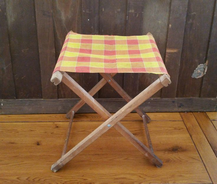 Vintage Folding Wood Camp Stool With Orange Yellow Checked Seat Great Portable Seating Perfect Small End Table by maliasmark on Etsy