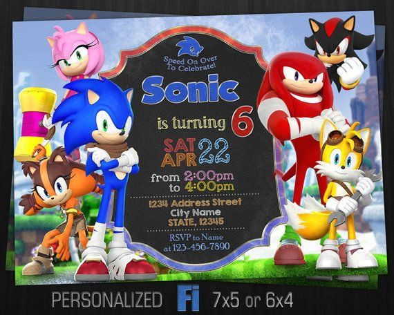 Sonic Invitation Sonic Birthday Party Sonic Knuckles Miles Sticks Amy Rose Shadow So Fiesta De Sonic Fiestas De Cumpleanos De Sonic Cumpleanos De Sonic