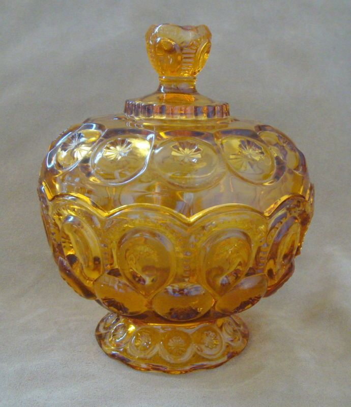 Vintage Amber Depression Glass Candy Dish With Lid On