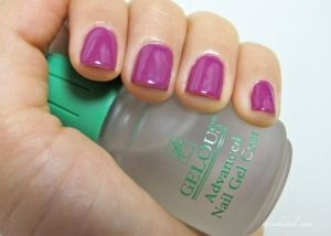 DIY Gel Nails, using Gelous (from Sally Beauty). 1. Apply one coat GELOUS onto clean, smooth, dry nails. Let it set for a few minutes. 2. Apply another coat GELOUS. Let set. 3. Apply one coat nail polish. Let it dry. 4. Apply another coat GELOUS. Let it set for a couple minutes. 5. Apply another coat nail polish. Let it dry. 6. Apply one layer clear top coat. Let dry. DONE. by LiLyDo