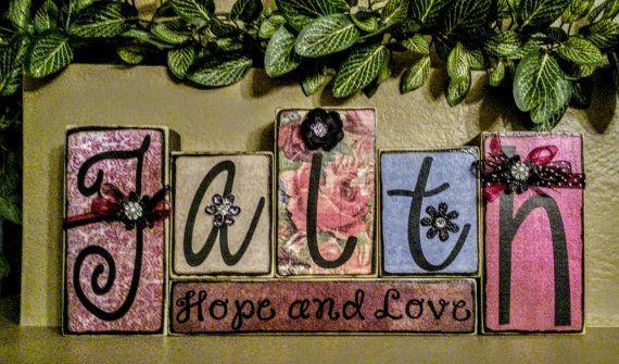 Faith Hope and Love wood blocks by KimsKreationsSA on Etsy