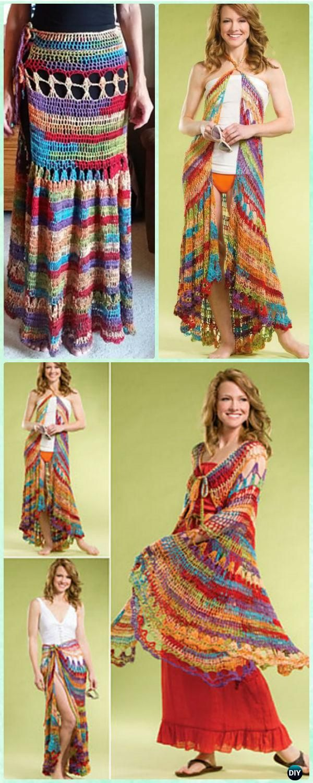 Crochet Seaside Wrap Skirt Free Pattern - Crochet Women Skirt Free Pattern