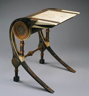 This desk is steampunk, but it's also vaguely art nouveau in shape. And I love it.