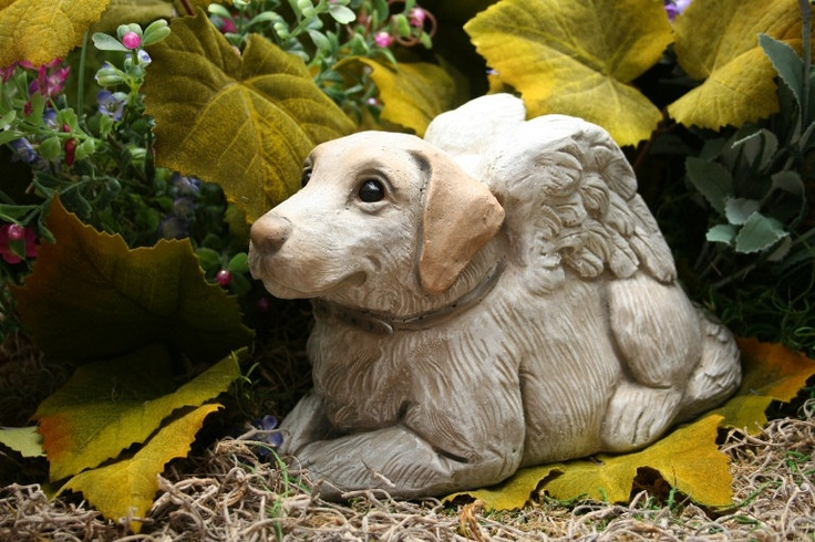 Dog Angel Statue Yellow Lab Concrete Statue Pet Memorial