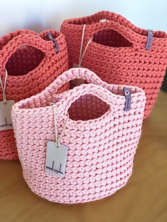 Tote Bag Scandinavian Style Crochet Tote Bag Handmade Bag | Etsy