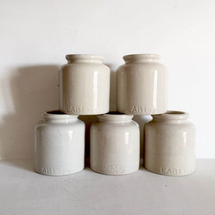French Vintage Stoneware Mustard Jars - LAB Lagney Mustard Jars - Storage Jars - Ceramic Condiment Jars - Pen , Brush, Silverware Holder by LaVieEnPastis on Etsy