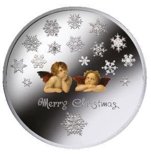 Монета Счастливого Рождества с ангелами и снежинками – добрый подарок к Новому Году и Рождеству!
