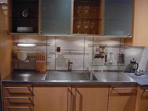 17 best images about kitchen stainless steel countertops for Stainless steel countertop with integral sink