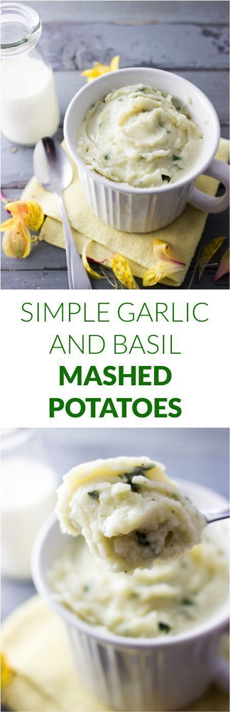 Simple garlic and basil mashed potatoes | http://savorytooth.com