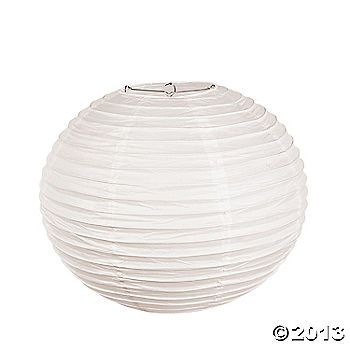 """White Paper Lanterns - $26.50 per half dozen for 18"""" large lanterns (hang from trees with lights)"""