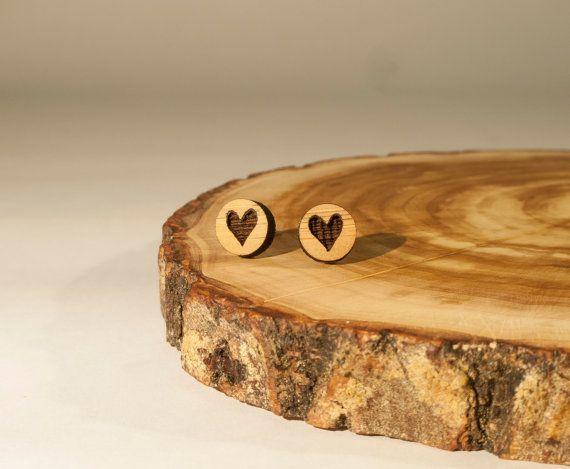 Heart Stud Earrings Bamboo by BeamDesigns on Etsy
