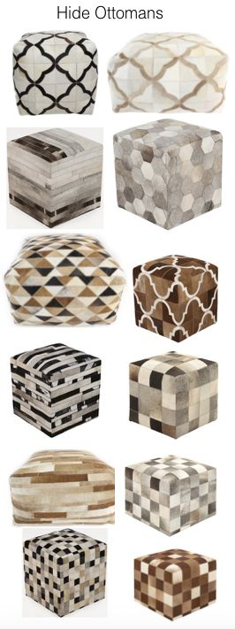 I do love a cowhide ottoman (or 4) in place of a cocktail table