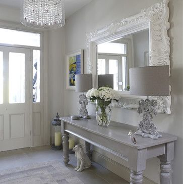 Entryway Decor Ideas ~ Love the oversized mirror and table. Wish I had a wall in my foyer to fit this. From HOUZZ