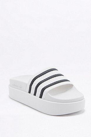 adidas Originals Adilette Platform White Pool Sliders - Urban Outfitters