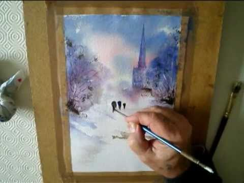 WEBSITE http://www.watercolourpainting.org http://simplewatercolours.blogspot.co.uk/ evening snow scene easy watercolour painting demonstration kindle ebook ...